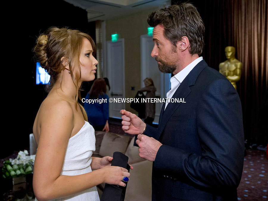 85TH OSCARS NOMINEES LUNCHEON.attend a luncheon at the Beverly Hilton, Beverly Hills_February 4, 2013..The 85th Academy Awards will be presented on Sunday, February 24, 2013, at the Kodak Theatre at Hollywood & Highland Center..Picture Shows: Jennifer Lawrence and Hugh Jackman.MANDATORY PHOTO CREDIT: ©Wawrychuk/NEWSPIX INTERNATIONAL . .(Failure to by-line the photograph will result in an additional 100% reproduction fee surcharge. You must agree not to alter the images or change their original content)..            *** ALL FEES PAYABLE TO: NEWSPIX INTERNATIONAL ***..IMMEDIATE CONFIRMATION OF USAGE REQUIRED:Tel:+441279 324672..Newspix International, 31 Chinnery Hill, Bishop's Stortford, ENGLAND CM23 3PS.Tel: +441279 324672.Fax: +441279 656877.Mobile: +447775681153.e-mail: info@newspixinternational.co.uk