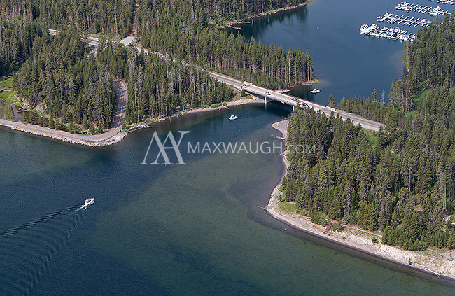 A view of Bridge Bay Marina taken during an aerial shoot of Yellowstone.