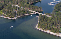 A view of Bridge Bay Marina taken during an aerial shoot of Yellowstone.