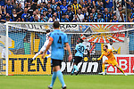 11.08.2019, Carl-Benz-Stadion, Mannheim, GER, DFB Pokal, 1. Runde, SV Waldhof Mannheim vs. Eintracht Frankfurt, <br /> <br /> DFL REGULATIONS PROHIBIT ANY USE OF PHOTOGRAPHS AS IMAGE SEQUENCES AND/OR QUASI-VIDEO.<br /> <br /> im Bild: Jan Hendrik Marx (SV Waldhof Mannheim #26) trifft das Tor zum 3:2<br /> <br /> Foto © nordphoto / Fabisch