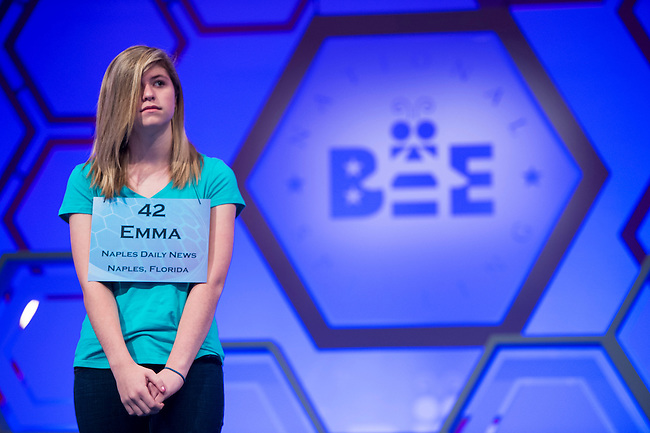 Speller No. Speller No. 42, Emma J. Parrish, 14, eighth grader at North Naples Middle School, Naples, Florida, competes in the preliminary rounds of the Scripps National Spelling Bee at the Gaylord National Resort and Convention Center in National Habor, Md., on Wednesday, May 29, 2013. Photo by Bill Clark