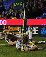 Reading, England. Charlie Amesbury of Sale Sharks scores a try  during the LV= Cup match between London Irish and Sale Sharks at Madejski Stadium on November 11, 2012 in Reading, England.