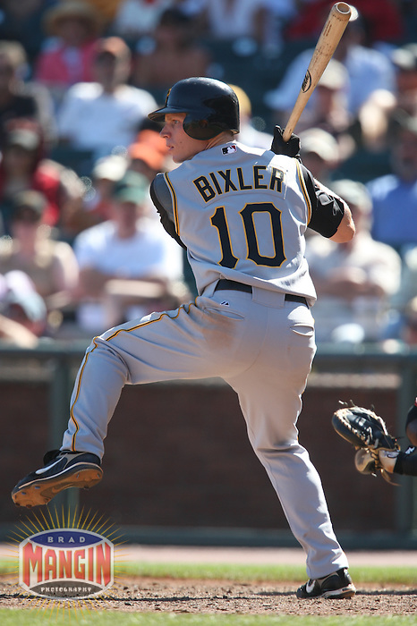 SAN FRANCISCO - SEPTEMBER 7:  Brian Bixler of the Pittsburgh Pirates bats during the game against the San Francisco Giants at AT&T Park in San Francisco, California on September 7, 2008.  The Giants defeated the Pirates 11-6.  Photo by Brad Mangin