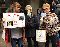 NEW YORK, NY - NOVEMBER 4:  Anti-Trump protestor and women holding Donald Trump voodoo dolls protest outside of Trump Tower in New York, New York on November 2, 2016.  Photo Credit: Rainmaker Photo/MediaPunch