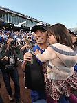 Norichika Aoki (Royals),<br /> OCTOBER 15, 2014 - MLB : Norichika Aoki of the Kansas City Royals celebrates with the series trophy after winning the Major League Baseball American League championship series Game 4 at Kauffman Stadium in Kansas City, Missouri, USA. <br /> (Photo by AFLO)