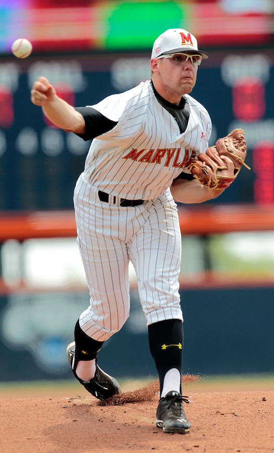 in the first inning of an NCAA college baseball tournament super regional game against Virginia in Charlottesville, Va., Monday, June 9, 2014. (AP Photo/Andrew Shurtleff)