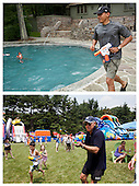 "June 11, 2011.""The top photograph shows the President having a water gun fight with his daughter Sasha on her birthday weekend at Camp David. Unbeknownst to me, David Lienemann captured a similar photo of the Vice President on the very same day."".Mandatory Credit: Pete Souza - White House via CNP (Top) and David Lienemann - White House via CNP (Bottom)"