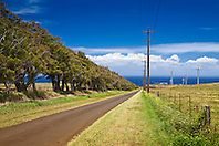 Upolu Airport Road and wind turbines of Upolu Point Wind Farm, Hawi, North Kohala, Big Island, Hawaii, USA
