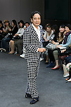 Actor Lou Oshiba poses on the catwalk wearing clothes from the tenbo 2016 Spring-Summer Collection during the Mercedes-Benz Fashion Week Tokyo, in Roppongi on October 13, 2015, Tokyo, Japan. tenbo invited people with disabilities to join models and celebrities on the runway in a message of peace. The Mercedes-Benz Fashion Week Tokyo runs from October 12 to 17. (Photo by Rodrigo Reyes Marin/AFLO)