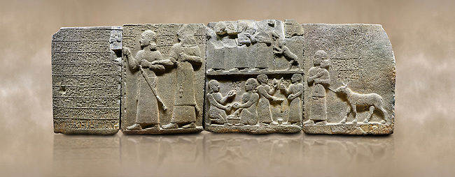 """Photo of Hittite monumental relief sculpted orthostat stone panel of Royal Buttress. Basalt, Karkamıs, (Kargamıs), Carchemish (Karkemish), 900-700 B.C. Anatolian Civilisations Museum, Ankara, Turkey.<br /> <br /> Hieroglyph panel1 (left) - Discourse of Yariris. Yariris presents his predecessor, the eldest son Kamanis, to his people. <br /> Second From left panel 2  -  King Araras holds his son Kamanis from the wrist. King carries a sceptre in his hand and a sword at his waist while the prince leans on a stick and carries a sword on his shoulder. <br /> Hieroglyphs reads; """"This is Kamanis and his siblings.) held his hand and despite the fact that he is a child, I located him on the temple. This is Yariris' image"""".  <br /> <br /> Panel 3 - This panels scene showing 8 out of 10 children of the King, the hieroglyphs reads as follows: """"Malitispas, Astitarhunzas, Tamitispas,Isikaritispas, Sikaras, Halpawaris, Ya hilatispas"""". Above, there are three figures holding knucklebones (astragalus) and one figure walking by leaning on a stick; below are two each figures playing the knucklebones and turning whirligigs.<br />  <br /> Panel 4 - The queen carries her youngest son. The hieroglyphs located above read; """"and this is Tuwarsais; the prince desired by the ruler, whose exclusiveness has been exposed"""". While the queen carries her son in her lap, she holds the rope of the colt coming behind with her other hand. The muscles of the colt are schematic. <br /> <br /> Against a brown art background."""