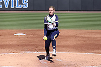 DURHAM, NC - FEBRUARY 29: Payton Tidd #14 of the University of Notre Dame throws a pitch during a game between Notre Dame and Duke at Duke Softball Stadium on February 29, 2020 in Durham, North Carolina.