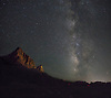 The Milky Way appears on a moonless night over The Watchman  at Zion National Park, Utah