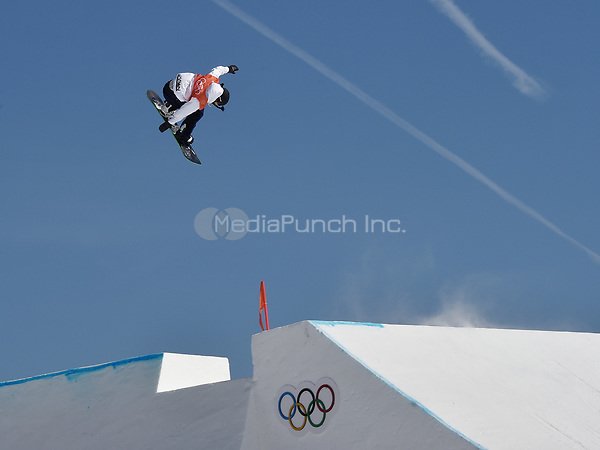 Yuri Okubo from Japan jumping during the snowboard slopestyle training in the Olympic Phoenix Snow Park in Pyeongchang, South Korea, 07 February 2018. The Pyeongchang 2018 Winter Olympics take place between 09 and 25 February. Photo: Angelika Warmuth/dpa /MediaPunch ***FOR USA ONLY***