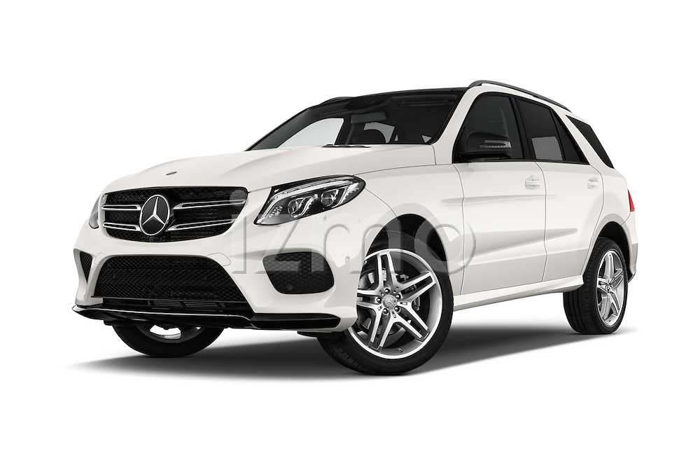 Stock pictures of low aggressive front three quarter view of 2016 Mercedes Benz GLE-Class 5 Door SUV Low Aggressive