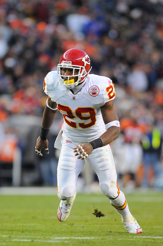 14 NOVEMBER 2010:  Chiefs safety Eric Berry  during a regular season National Football League game between the Kansas City Chiefs and the Denver Broncos at Invesco Field at Mile High in Denver, Colorado. The Broncos beat the Chiefs 49-29.