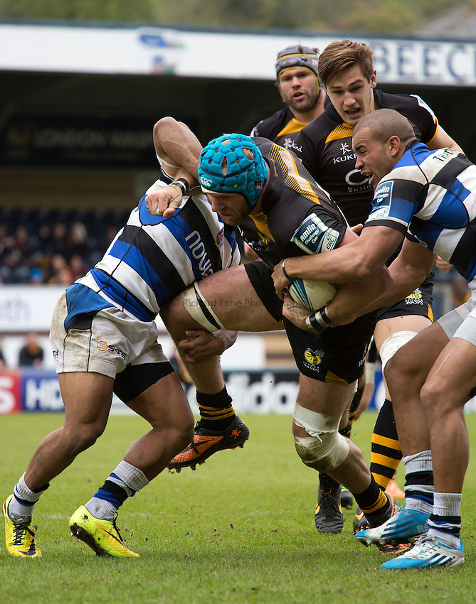 Photo: Simon Wise/Richard Lane Photography. London Wasps v Bath Rugby. Amlin Challenge Cup Semi Final. 27/04/2014. Wasps' James Haskell attacks.