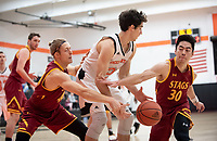 #21 Caleb Yellin-Flaherty '20<br /> The Occidental College men's basketball team plays against Claremont-Mudd-Scripps on January 9, 2019 in Rush Gym. Oxy lost 63-60, breaking their 13-game winning streak.<br /> (Photo by Marc Campos, Occidental College Photographer)