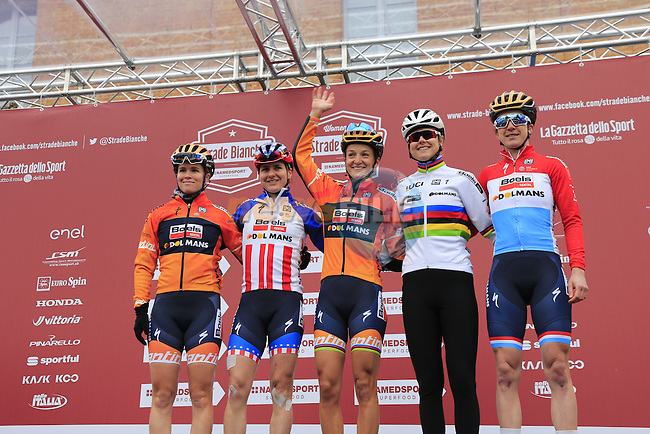 Boels-Dolmans Cycling Team at sign on before the start of the Ladies 2017 Strade Bianche running 127km from Siena to Siena, Tuscany, Italy 4th March 2017.<br /> Picture: Eoin Clarke | Newsfile<br /> <br /> <br /> All photos usage must carry mandatory copyright credit (&copy; Newsfile | Eoin Clarke)