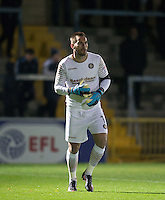 Goalkeeper Scott Brown of Wycombe Wanderers during the The Checkatrade Trophy Southern Group D match between Wycombe Wanderers and Coventry City at Adams Park, High Wycombe, England on 9 November 2016. Photo by Andy Rowland.