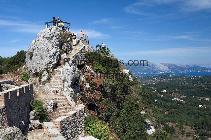 Greece, Corfu, Pelekas: Kaiser`s Throne and views across island