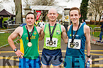 Sean O'Sullivan (Third) Donal O'Callaghan (First) and Derek Griffin (Second) first three men home at the Kerry's Eye Tralee, Tralee International Half Marathon on Saturday.