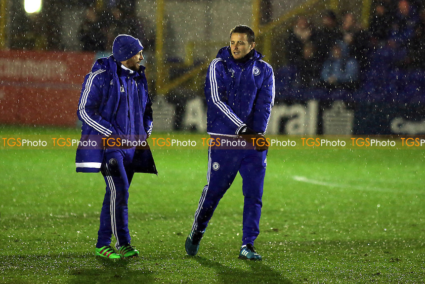 The Chelsea U18 Coach, Joe Edwards (right) chats with Jody Morris,  U18 Assistant Manager during AFC Wimbledon Youth vs Chelsea Youth, FA Youth Cup Football at the Cherry Red Records Stadium
