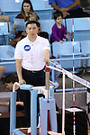 10 September 2015: Referee Jung Park. The University of North Carolina Tar Heels hosted the Stanford University Cardinal at Carmichael Arena in Chapel Hill, NC in a 2015 NCAA Division I Women's Volleyball contest. North Carolina won the match 25-17, 27-25, 25-22.