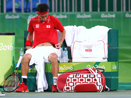Kei Nishikori (JPN), <br /> AUGUST 12, 2016 - Tennis : <br /> Men's Singles Quarter-final at Olympic Tennis Centre during the Rio 2016 Olympic Games in Rio de Janeiro, Brazil. <br /> (Photo by Sho Tamura/AFLO SPORT)