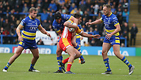 Catalans Dragons' Tony Gigot is tackled by Warrington Wolves' Chris Hill <br /> <br /> Photographer Stephen White/CameraSport<br /> <br /> Betfred Super League Round 17 - Warrington Wolves v Catalans Dragons - Saturday 8th June 2019 - Halliwell Jones Stadium - Warrington<br /> <br /> World Copyright © 2019 CameraSport. All rights reserved. 43 Linden Ave. Countesthorpe. Leicester. England. LE8 5PG - Tel: +44 (0) 116 277 4147 - admin@camerasport.com - www.camerasport.com