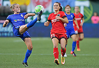 Portland, OR - Saturday July 30, 2016: Elli Reed, Hayley Raso during a regular season National Women's Soccer League (NWSL) match between the Portland Thorns FC and Seattle Reign FC at Providence Park.