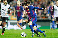 Valencia CF's Coquelin (r) and FC Barcelona's Leo Messi during Spanish King's Cup Semi Final 2nd match. February 8,2018.  *** Local Caption *** © pixathlon<br /> Contact: +49-40-22 63 02 60 , info@pixathlon.de