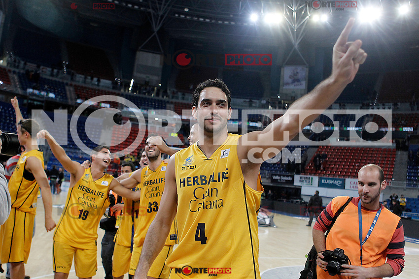 Herbalife Gran Canaria's Roberto Guerra celebrates the victory after Spanish Basketball King's Cup match.February 07,2013. (ALTERPHOTOS/Acero)