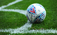A close up of a Mitre Delta EFL match football<br /> <br /> Photographer Chris Vaughan/CameraSport<br /> <br /> The EFL Sky Bet League Two - Lincoln City v Morecambe - Saturday August 12th 2017 - Sincil Bank - Lincoln<br /> <br /> World Copyright &copy; 2017 CameraSport. All rights reserved. 43 Linden Ave. Countesthorpe. Leicester. England. LE8 5PG - Tel: +44 (0) 116 277 4147 - admin@camerasport.com - www.camerasport.com