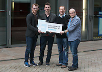 ***NO FEE PIC *** 05/06/2014 (L to R) Jury Members Brian Gleeson – Actor (Love/Hate, Snow White and the Huntsman), Nicky Phelan at Oscar-nominated animator at Brown Bag Films, Conor McPherson – Award-winning playwright and screenwriter, Lenny Abrahamson – Award-winning director of Frank, Adam and Paul, Garage and What Richard Did during the launch of the ICCL (Irish Council for Civil Liberties) Human Rights Film Awards Shortlist at the IFCO in Smith field, Dublin. Photo: Gareth Chaney Collins