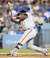 September 24, 2014 Los Angeles, CA: San Francisco Giants third baseman Pablo Sandoval #48  during an MLB game between the San Francisco Giants and the Los Angeles Dodgers played at Dodger Stadium The Dodgers defeated the Giants 9-1 to win the National League West Title.