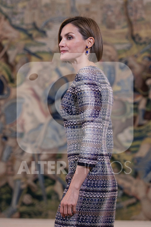 Queen Letizia of Spain during a Royal Audience with Reina Sofia Museum´s Friends Managing Board representatives at Zarzuela Palace in Madrid, Spain. April 30, 2015. (ALTERPHOTOS/Victor Blanco)