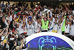Real Madrid celebrate winning the Champions league trophy<br /> <br /> Photographer Ian Cook/CameraSport<br /> <br /> Football - UEFA Champions League Final 2014 - Real Madrid v Atletico Madrid - Saturday 24th May 2014 - Stadium of Light - Lisbon - Portugal<br /> <br /> &copy; CameraSport - 43 Linden Ave. Countesthorpe. Leicester. England. LE8 5PG - Tel: +44 (0) 116 277 4147 - admin@camerasport.com - www.camerasport.com