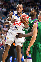 Real Madrid's player Dontaye Draper and Unicaja Malaga's player Viny Okouo during match of Liga Endesa at Barclaycard Center in Madrid. September 30, Spain. 2016. (ALTERPHOTOS/BorjaB.Hojas) /NORTEPHOTO.COM