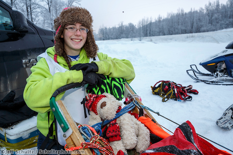 Junior Musher Katherine Winrich at Knik during the start of the Junior Iditarod on Saturday February 25, 2017. <br /> <br /> <br /> Photo by Jeff Schultz/SchultzPhoto.com  (C) 2017  ALL RIGHTS RESVERVED