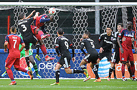 Washington, D.C.- March 29, 2014. Jhon Kennedy Hurtado of the Chicago Fire head the ball to score his goal. The Chicago Fire tied D.C. United 2-2 during a Major League Soccer Match for the 2014 season at RFK Stadium.