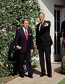 United States President George H.W. Bush and President Václav Havel of Czechoslovakia following a State Arrival ceremony on the South Lawn of the White House honoring  on October 22, 1991.  Havel is visiting Washington for a State Visit.<br /> Credit: Ron Sachs / CNP