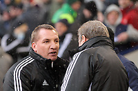 Pictured L-R: Brendan Rodgers amanger for Swansea greets Roy Hodgson, manage for West Bromwich Albion. Saturday, 04 February 2012<br />