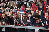Monday 19th March - Ballyclare supporters before the Ulster Schools Cup Final between Ballyclare High School and Methody at Ravenhill, Belfast.<br /> <br /> Picture credit: John Dickson / DICKSONDIGITAL