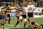 Kristian Ormsby looks to fend off Aaron Rameka during the Air NZ Cup rugby game between Bay of Plenty & Counties Manukau played at Blue Chip Stadium, Mt Maunganui on 16th of September, 2006. Bay of Plenty won 38 - 11.