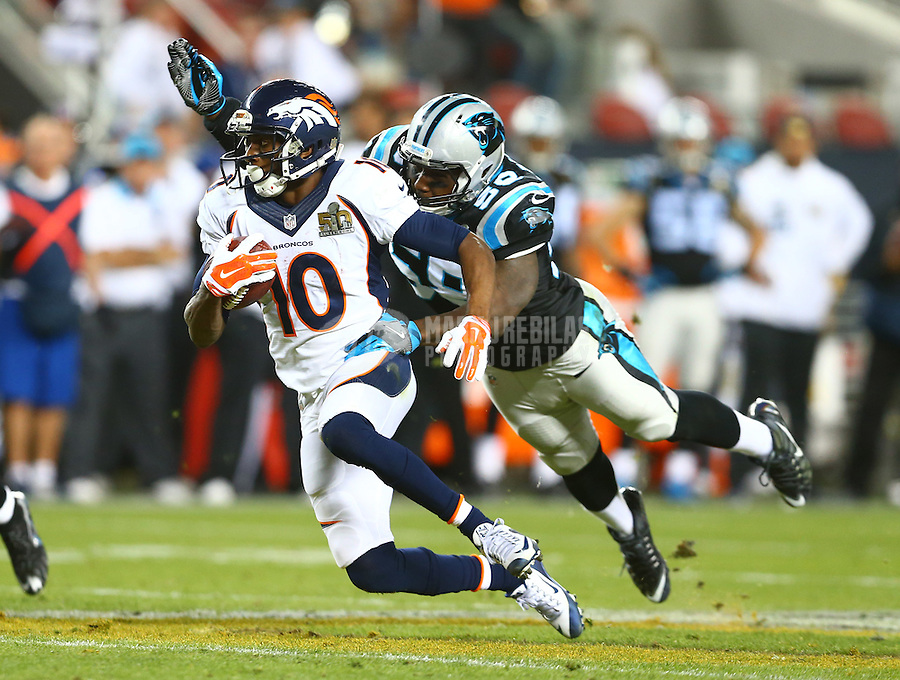 Feb 7, 2016; Santa Clara, CA, USA; Diving Carolina Panthers linebacker Thomas Davis (58) attempts to tackle Denver Broncos wide receiver Emmanuel Sanders (10) in Super Bowl 50 at Levi's Stadium. Mandatory Credit: Mark J. Rebilas-USA TODAY Sports