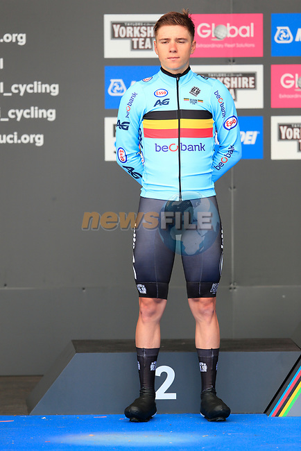 Remco Evenepoel (BEL) wins the silver medal at the Men Elite Individual Time Trial of the UCI World Championships 2019 running 54km from Northallerton to Harrogate, England. 25th September 2019.<br /> Picture: Eoin Clarke | Cyclefile<br /> <br /> All photos usage must carry mandatory copyright credit (© Cyclefile | Eoin Clarke)