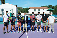 25th July 2020, Villeneuve-Loubet , France;   Jo Wilfried Tsonga France - Harmony Tan France - Alize Cornet France - Bernard Giudicelli president of the fft - Maxime Hamou France - Gilles Simon France during the Elite FFT Tennis Challenge tournament;
