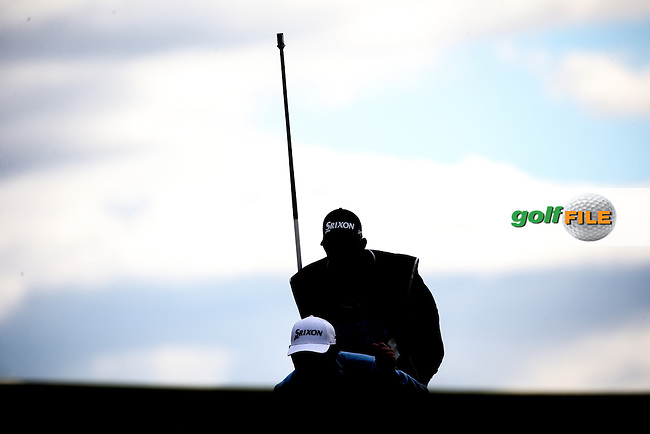 Caddie &amp; JB Holmes (USA) during Round Two of the 2016 Aberdeen Asset Management Scottish Open, played at Castle Stuart Golf Club, Inverness, Scotland. 08/07/2016. Picture: David Lloyd | Golffile.<br /> <br /> All photos usage must carry mandatory copyright credit (&copy; Golffile | David Lloyd)