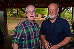 WATERTOWN, CT. 17 May 2018-051718BS92 - Craig Czarsty of Watertown, left, and Retired Watertown Fire Chief Larry Black at the Greater Waterbury Campership Fund's Big Green Pizza Truck Party at the YMCA'S Camp Mataucha on Thursday evening. Bill Shettle Republican-American