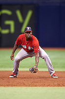 Boston Red Sox Josh Ockimey (18) during an instructional league game against the Tampa Bay Rays on September 24, 2015 at Tropicana Field in St Petersburg, Florida.  (Mike Janes/Four Seam Images)